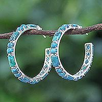 Turquoise half-hoop earrings,