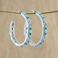 Turquoise half-hoop earrings, 'Nautical Notions' - Nautical Style Turquoise Half Hoop Earrings from Thailand
