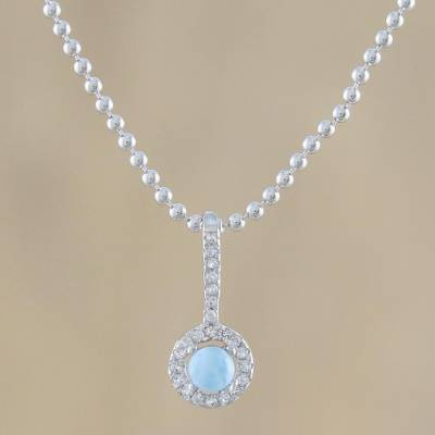 Larimar pendant necklace, 'Gorgeous Blue' - Circular Larimar and CZ Pendant Necklace from Thailand