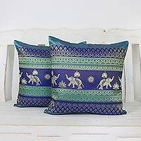 Cushion covers, 'Regal Lanna in Teal' (pair) - Pair of Woven Cushion Covers with Elephants in Teal