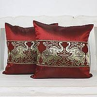 Cushion covers, 'Regal Chiang Mai in Cherry' (pair) - Pair of Woven Cushion Covers with Elephants in Cherry