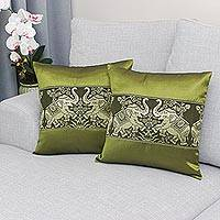 Cushion covers, 'Regal Chiang Mai in Olive' (pair) - Pair of Woven Cushion Covers with Elephants in Olive