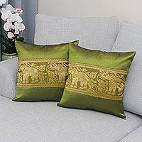 Cushion covers, 'Regal Chiang Mai in Avocado' (pair) - Pair of Woven Cushion Covers with Elephants in Avocado