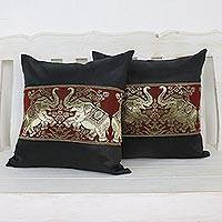Cushion covers, 'Regal Chiang Mai in Black' (pair) - Pair of Woven Cushion Covers with Elephants in Black