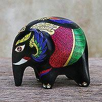 Ceramic figurine, 'Thai Elephant Bird' - Hand Painted Elephant Figurine with Wing Motifs
