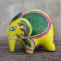 Ceramic figurine, 'Thai Elephant Fish' - Thai Elephant Sculpture with Hand Painted Fish Motifs
