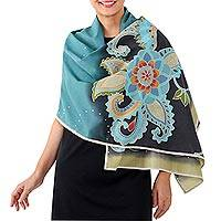 Batik cotton shawl, 'Sunset Garden' - 100% Batik Cotton Shawl with Flower and Hand Stitched Edge