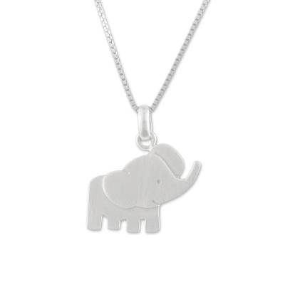 Sterling silver pendant necklace, 'Elephant Cheer' - Elephant Necklace Crafted of Sterling Silver from Thailand