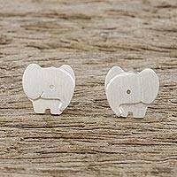 Sterling silver stud earrings, 'Watchful Elephants'