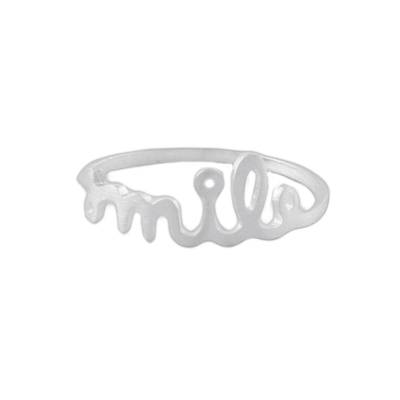 Sterling Silver Brushed Satin Smile Ring from Thailand