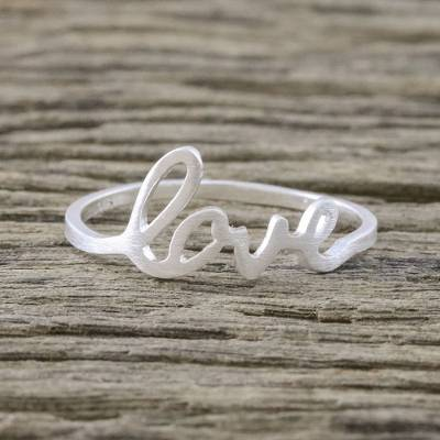 Sterling silver band ring, 'Gleaming Love' - Love-Themed Sterling Silver Band Ring from Thailand