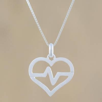 Sterling silver pendant necklace, 'My Beating Heart' - Heart-Shaped Sterling Silver Pendant Necklace from Thailand