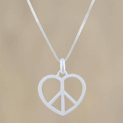 Sterling silver pendant necklace, 'Heart at Peace' - Peace Heart Sterling Silver Pendant Necklace from Thailand