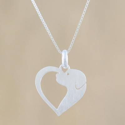 Sterling silver pendant necklace, 'Soul of a Puppy' - Dog Heart Sterling Silver Pendant Necklace from Thailand