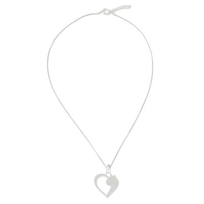 Cat Heart Sterling Silver Pendant Necklace from Thailand