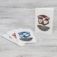 Hand painted greeting cards, 'Bashful Owls' - Owl Motif Blank Greeting Card Set from Thailand (Set of 4)
