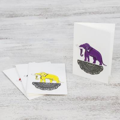 Hand painted greeting cards, 'Regal Elephants' - Blank Greeting Cards with Hand Painted Elephants (Set of 4)