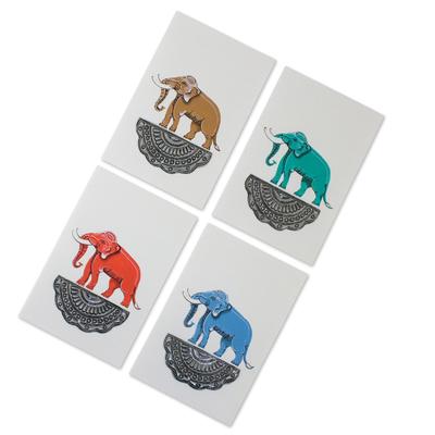 Handmade elephant greeting cards from thailand set of 4 good hand painted greeting cards good luck elephants set of 4 m4hsunfo