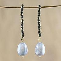 Gold plated cultured pearl and hematite dangle earrings, 'Grey Charm'