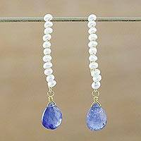 Gold plated cultured pearl and tanzanite dangle earrings, 'Dreaming of You' - Tanzanite and Cultured Pearl Gold Plated Earrings