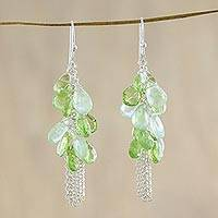 Peridot and prehnite cluster earrings, 'Spring Sprout' - Peridot and Prehnite Cluster Dangle Earrings from Thailand