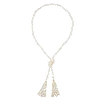 Gold plated cultured pearl wrap necklace, 'Wrapped in Splendor' - Long Wrap Necklace Crafted from Cultured Pearls