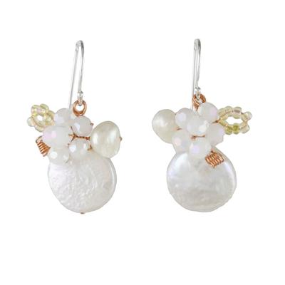 Novica Thai Cultured Pearl and Glass Dangle Earrings