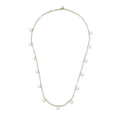 Cultured Pearl Beaded Station Necklace from Thailand
