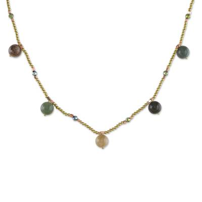Agate and Brass Beaded Necklace from Thailand