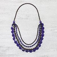 Wood beaded necklace, 'Flower Dream in Blue-Violet' - Floral Wood Beaded Necklace in Blue-Violet from Thailand