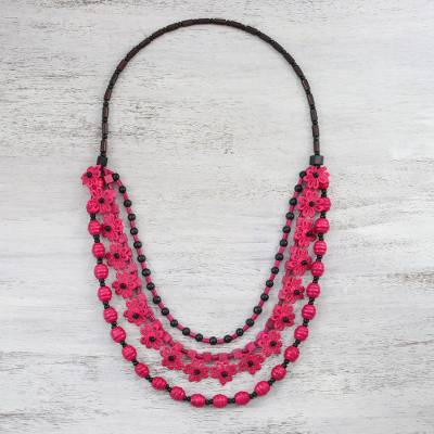 Wood beaded necklace, 'Flower Dream in Cerise' - Floral Wood Beaded Pendant Necklace in Cerise from Thailand