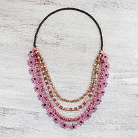 Long wood beaded necklace, 'Flower Dream in Carnation' - Floral Wood Beaded Necklace in Carnation from Thailand