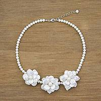 Cultured pearl pendant necklace, 'Innocent Flowers' - Cultured Pearl Floral Pendant Necklace from Thailand