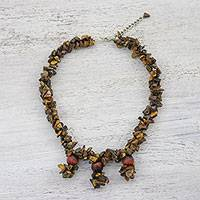 Tiger's eye beaded choker, 'Earthen Roads' - Tiger's Eye Beaded Pendant Choker Necklace from Thailand