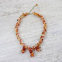 Carnelian beaded necklace, 'Flaming Trio' - Natural Carnelian Beaded Pendant Necklace from Thailand