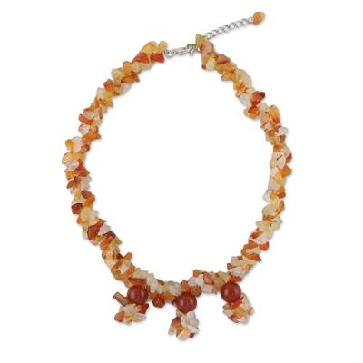 Natural Carnelian Beaded Choker Necklace from Thailand