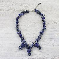 Lapis lazuli beaded necklace, 'Stylish Diamonds' - Lapis Lazuli Beaded Pendant Necklace from Thailand