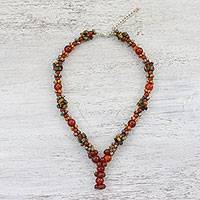 Carnelian and jasper beaded necklace, 'Fiery Cluster' - Carnelian and Jasper Beaded Pendant Necklace from Thailand