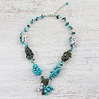 Multi-gemstone beaded choker, 'Cozy Cove' - Multi-Gemstone Beaded Choker in Blue from Thailand