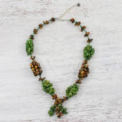 Peridot and tiger's eye beaded choker, 'Cozy Forest' - Peridot and Tiger's Eye Beaded Choker from Thailand