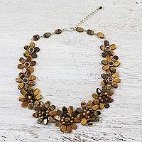 Tiger's eye beaded necklace, 'Earthy Flowers' - Tiger's Eye Beaded Flower Necklace from Thailand