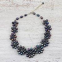 Cultured pearl beaded necklace, 'Twilight Flowers' - Cultured Pearl Floral Necklace in Black from Thailand
