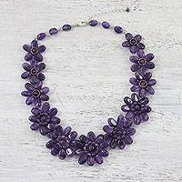 Amethyst beaded necklace, 'Purple Garden' - Purple Amethyst Glass Floral Beaded Statement Necklace