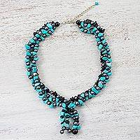 Multi-gemstone beaded necklace, 'Ocean Bubbles' - Multi-Gemstone Beaded Necklace from Thailand