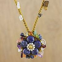 Multi-gemstone pendant necklace, 'Enchanted Flower in Blue' - Multi-Gemstone Floral Necklace in Blue from Thailand