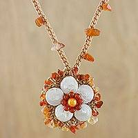 Cultured pearl and carnelian pendant necklace, 'Enchanted Flower in White' - Cultured Pearl and Carnelian Necklace in White from Thailand
