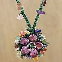 Multi-gemstone pendant necklace, 'Enchanted Flower in Purple' - Multi-Gemstone Floral Necklace in Purple from Thailand