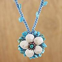 Cultured pearl pendant necklace, 'Enchanted Flower' - Multi-Gemstone Floral Pendant Necklace from Thailand