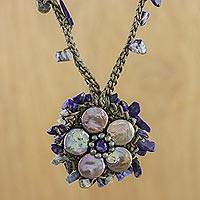 Cultured pearl and lapis lazuli pendant choker, 'Enchanted Flower' - Grey Cultured Coin Pearl and Lapis Lazuli Choker