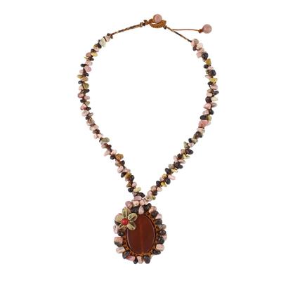 Beaded Gemstone Necklace with Carnelian Pendant